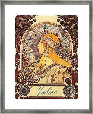 Vintage Art Nouveau Zodiac Framed Print by Mindy Sommers