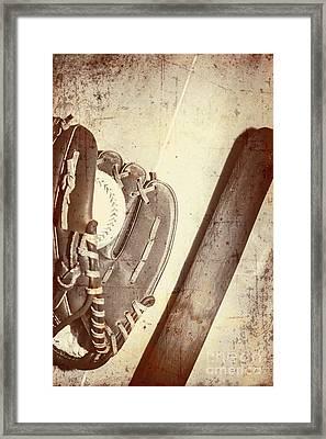 Vintage Baseball Bat Mitt And Ball Framed Print by Jorgo Photography - Wall Art Gallery