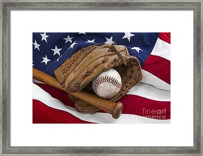 Vintage Baseball Framed Print by Simon Kayne