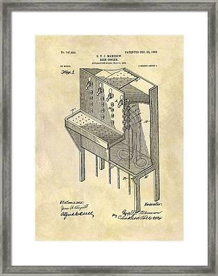 Vintage Beer Cooler Patent Framed Print by Dan Sproul