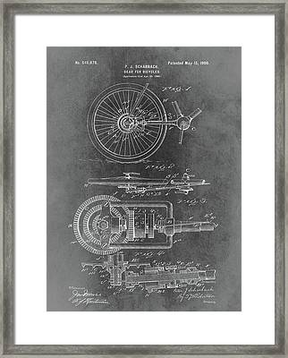 Vintage Bicycle Gear Patent Framed Print by Dan Sproul