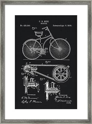 Vintage Bicycle Patent Illustration 1890 Framed Print by Tina Lavoie