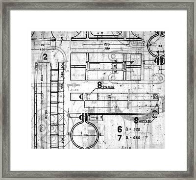 Vintage Blueprints Framed Print by Yali Shi