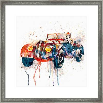 Vintage Bmw Watercolor Framed Print by Marian Voicu