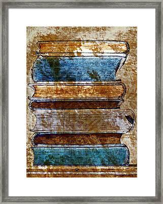 Vintage Book Stack Framed Print by Frank Tschakert