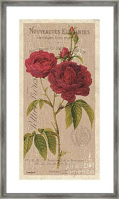 Vintage Burlap Floral 3 Framed Print by Debbie DeWitt