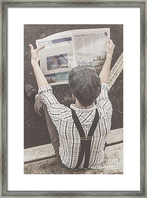 Vintage Businessman Reading Business News Framed Print by Jorgo Photography - Wall Art Gallery