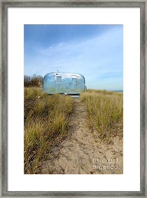 Vintage Camping Trailer Near The Sea Framed Print by Jill Battaglia