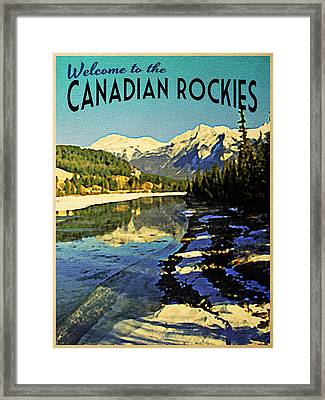 Vintage Canadian Rockies Framed Print by Flo Karp