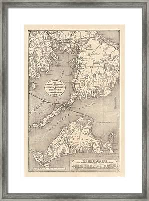 Vintage Cape Cod Old Colony Line Map  Framed Print by CartographyAssociates