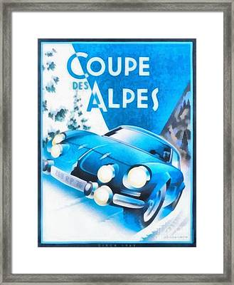 Vintage Car Race Poster Coupe Des Alpes Framed Print by Edward Fielding