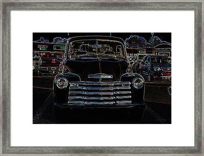 Vintage Chevy Truck Neon Art Framed Print by Lesa Fine