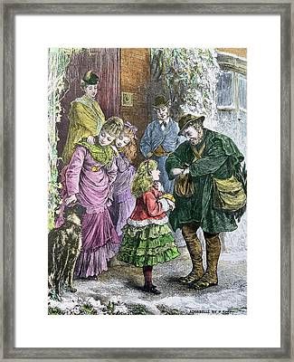 Vintage Christmas Card Framed Print by Pat Scott