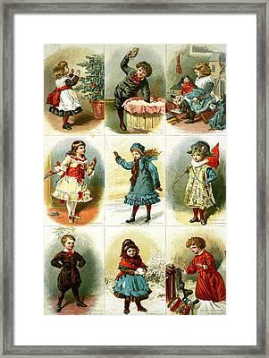 Vintage Christmas Cards Framed Print by Charles J Staniland