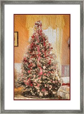 Vintage Christmas Tree In Classic Crimson Red Trim Framed Print by Shelley Neff