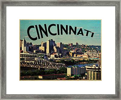 Vintage Cincinnati Skyline Framed Print by Flo Karp