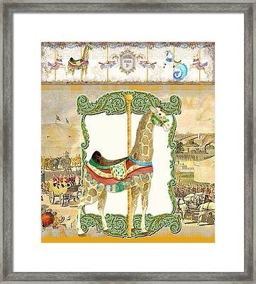Vintage Circus Carousel - Giraffe Framed Print by Audrey Jeanne Roberts