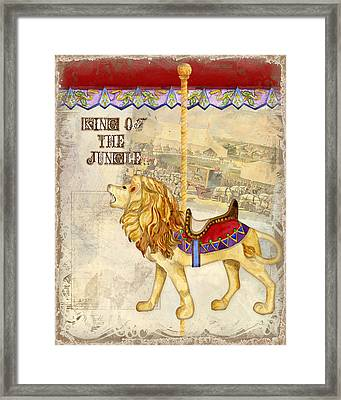 Vintage Circus Carousel - Roaring Lion Framed Print by Audrey Jeanne Roberts