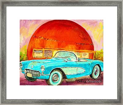 Vintage Classic Car Painting Blue Corvette At Orange Julep Montreal Canadian Art Carole Spandau   Framed Print by Carole Spandau