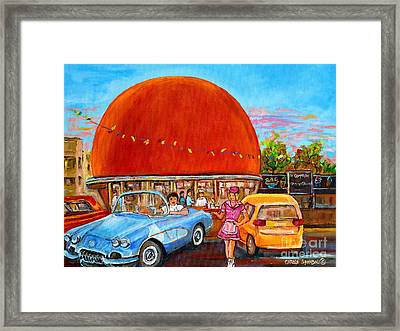 Vintage Classic Cars Painting At The Orange Julep Montreal Diner Canadian Painting Carole Spandau    Framed Print by Carole Spandau