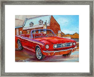 Vintage Classic Cars Paintings Red Mustang At The Diner Montreal Canadian Art Carole Spandau         Framed Print by Carole Spandau