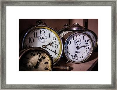 Vintage Clocks Framed Print by Debra and Dave Vanderlaan