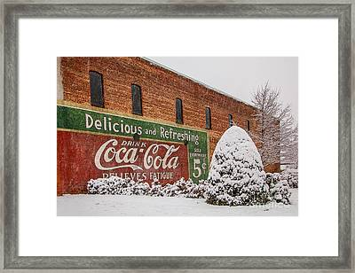 Vintage Coca Cola Sign New Albany Mississippi Framed Print by T Lowry Wilson