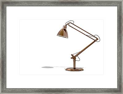 Vintage Copper Desk Lamp Framed Print by Allan Swart