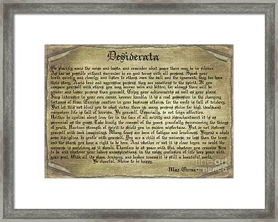 Vintage Desiderata Framed Print by Teresa Zieba