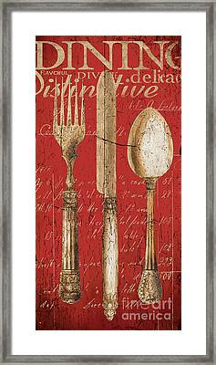 Vintage Dining Utensils In Red Framed Print by Grace Pullen