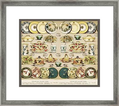 Vintage Dinnerware Drawing Framed Print by Anne Kitzman