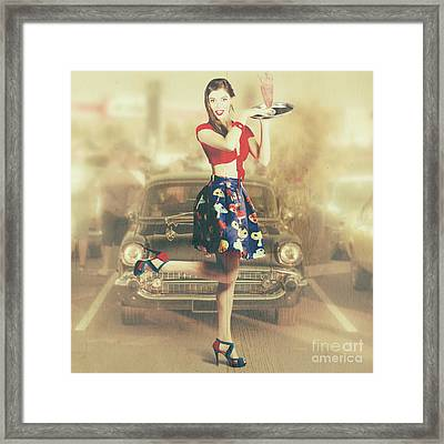 Vintage Drive Thru Pin-up Girl Framed Print by Jorgo Photography - Wall Art Gallery