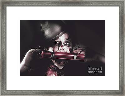 Vintage Evil Dead Terrorist With Explosives Framed Print by Jorgo Photography - Wall Art Gallery