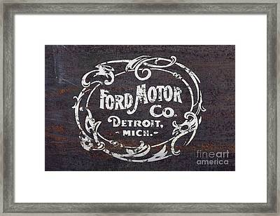 Vintage Ford Motor Co. Rusty Sign Framed Print by Edward Fielding