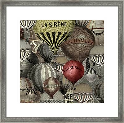 Vintage French Air Balloons Framed Print by Mindy Sommers