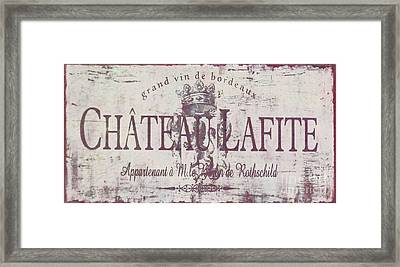 Vintage French Wine Sign Framed Print by Mindy Sommers