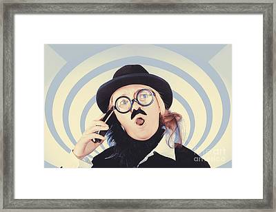 Vintage Futurist Using Phone On Time Warp Backdrop Framed Print by Jorgo Photography - Wall Art Gallery