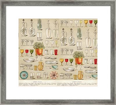 Vintage Glassware Collage Framed Print by Anne Kitzman