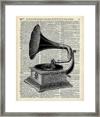 Vintage Gramophone Framed Print by Jacob Kuch