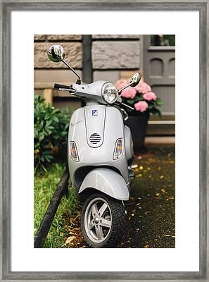 Vintage Grey Vespa,old Fashioned Italian Motorbike, Is Parked On The Street Sideway Framed Print by Aldona Pivoriene