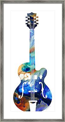 Vintage Guitar - Colorful Abstract Musical Instrument Framed Print by Sharon Cummings