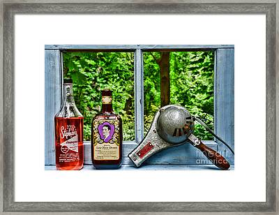 Vintage Hair Dryer And Hair Dressing On Window Sill Framed Print by Paul Ward