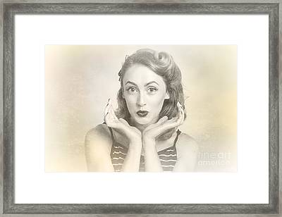 Vintage Hair Pin Up With Surprised Expression Framed Print by Jorgo Photography - Wall Art Gallery
