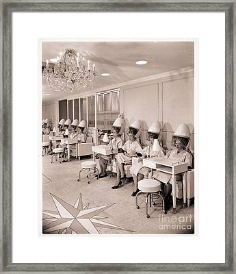 Vintage Hair Salon Ladies Hairdryers Framed Print by Mindy Sommers