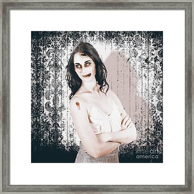 Vintage Halloween Spook On Grunge Background Framed Print by Jorgo Photography - Wall Art Gallery