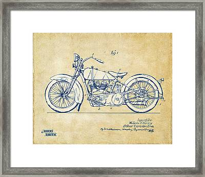 Vintage Harley-davidson Motorcycle 1928 Patent Artwork Framed Print by Nikki Smith