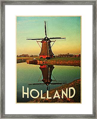 Vintage Holland Windmill Framed Print by Flo Karp