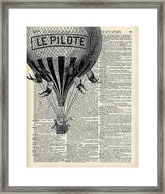 Vintage Hot Air Balloon Illustration,antique Dictionary Book Page Design Framed Print by Jacob Kuch