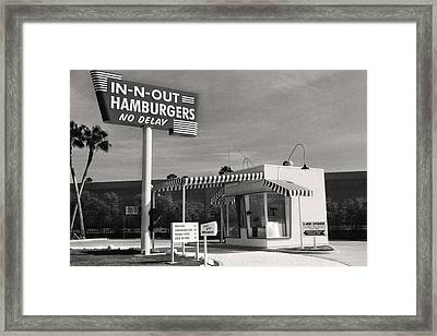 Vintage In-n-out Burger Stand, Black And White Photography  Framed Print by Andy Moine