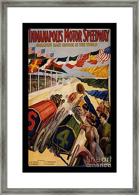 Vintage Indianapolis Motor Speedway Poster Framed Print by Edward Fielding